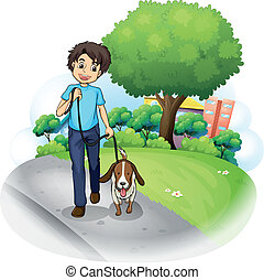 A boy with a dog walking along the street - Illustration of...
