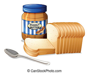 The sliced breads and a bottle of peanut butter -...