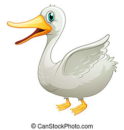 A white fat duck - Illustration of a white fat duck on a...