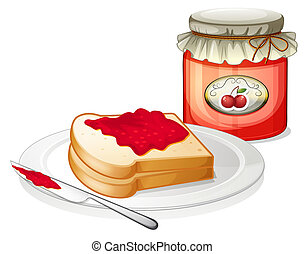A sandwich inside the plate with a cherry jam