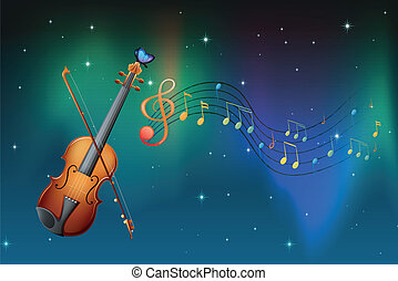 A string instrument with a butterfly and musical notes