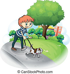 A boy walking with his dog along the street - Illustration...