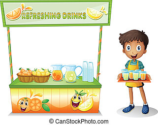 A boy with a stall of refreshing drinks - Illustration of a...