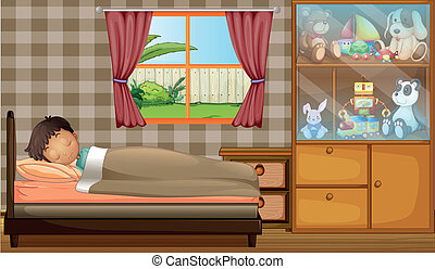 A boy sleeping in his bedroom - Illustration of a boy...