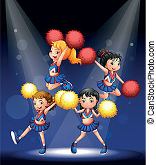 A cheering squad with red and yellow pompoms - Illustration...