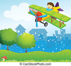 A boy riding in a plane above the hill - Illustration of a...