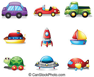 Nine different kind of toy transportations - Illustration of...