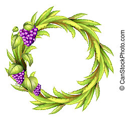 A round frame with vine grapes - Illustration of a round...