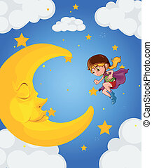A girl near the sleeping moon - Illustration of a girl near...
