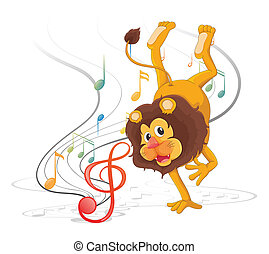 A lion dancing with musical notes - Illustration of a lion...