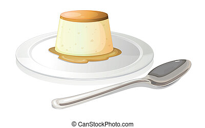A spoon beside a plate with a leche flan - Illustration of a...