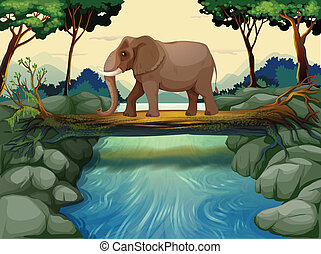 An elephant crossing the river - Illustration of an elephant...