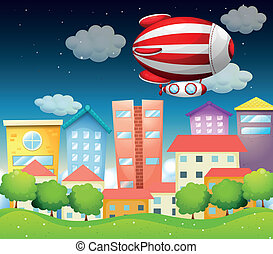 An aircraft above the buildings - Illustration of an...