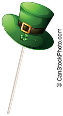 A green hat with a stick - Illustration of a green hat with...