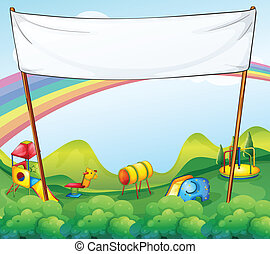 A white banner at the park - Illustration of a white banner...