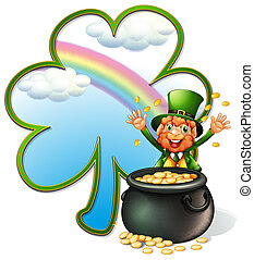 A rich man with a pot of gold coins