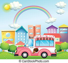 A pink icecream bus in the city - Illustration of a pink...