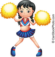 A cheerleader in her uniform with yellow pompoms -...