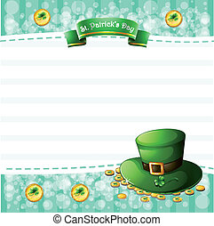A stationery for St. Patrick's Day with a hat and coins -...