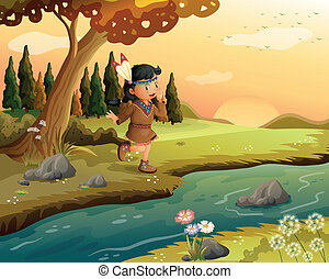 An Indian girl along the river - Illustration of an Indian...
