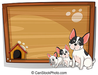 Three dogs in front of a wooden board - Illustration of the...