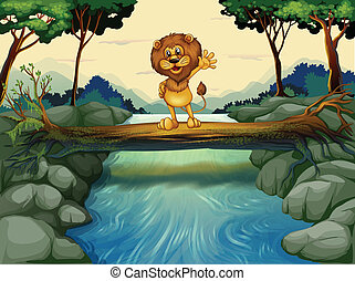 A lion standing at the trunk above the flowing river -...