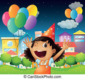 A happy little girl celebrating her birthday - Illustration...