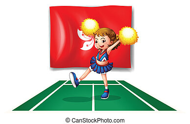 The flag of Hongkong with an energetic cheerdancer