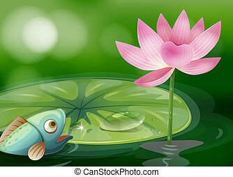 A fish with a waterlily and a flower at the pond -...