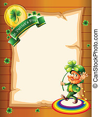 A blank paper with a St. Patrick's Day greeting and a man -...