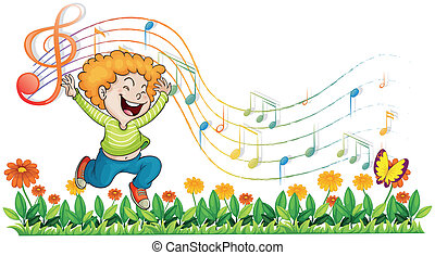 A boy dancing in the garden with musical notes