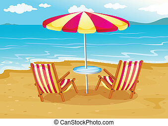 A beach umbrella with chairs at the seashore - Illustration...