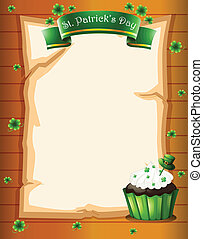 An empty space with a cupcake and clover plants