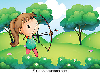 A girl holding a bow and arrow in the hills - Illustration...