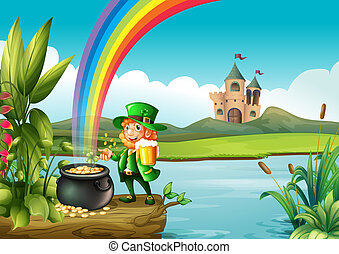 A man and a pot of gold above the trunk across the castle -...
