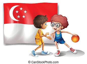 The Singaporean flag and the basketball players -...