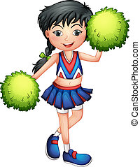 A cheerleader with her green pompoms - Illustration of a...