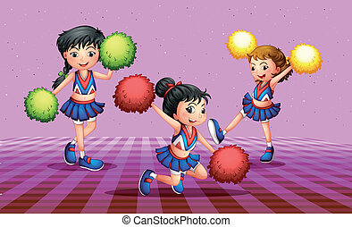 The three cheerdancers - Illustration of the the three...