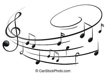 a, musical, notas, G-clef