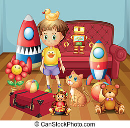 A child inside the house with his toys