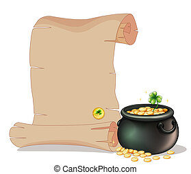 A long brown paper beside a pot of gold coins - Illustration...