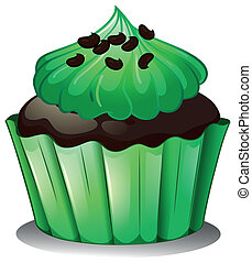 A chocolate cupcake with green toppings - Illustration of a...