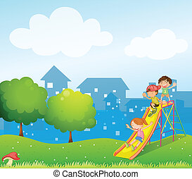 Three kids playing at the playground - Illustration of the...