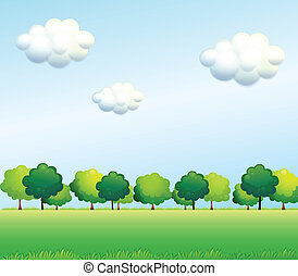 The green trees below the clear blue sky - Illustration of...