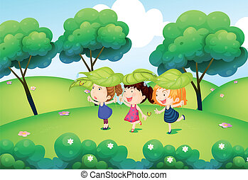 Kids playing with the leaves at the hills - Illustration of...