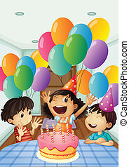 A birthday celebration with balloons and cake - Illustration...