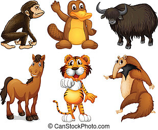Six different kinds of four-legged animals - Illustration of...