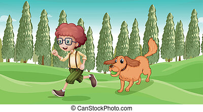 A boy and his dog playing at the park