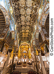 Golden mosaic in La Martorana church, Palermo, Italy -...
