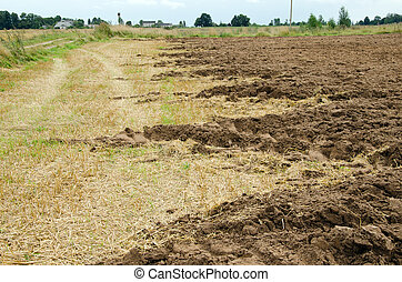 agricultural part plowed field ground soil autumn